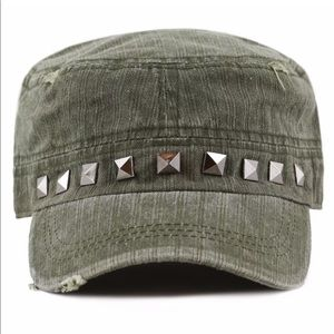 Olive green cap with brass tone studs